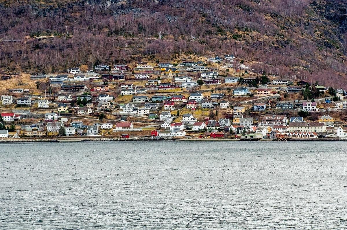 Buildings on a hillside near the water