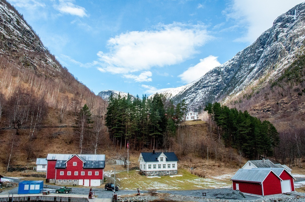 Colorful buildings along one of the fjords