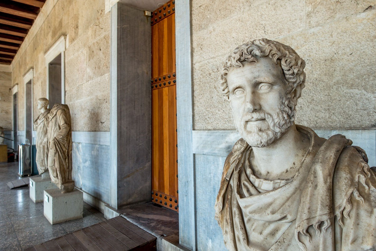 Marble busts and statues
