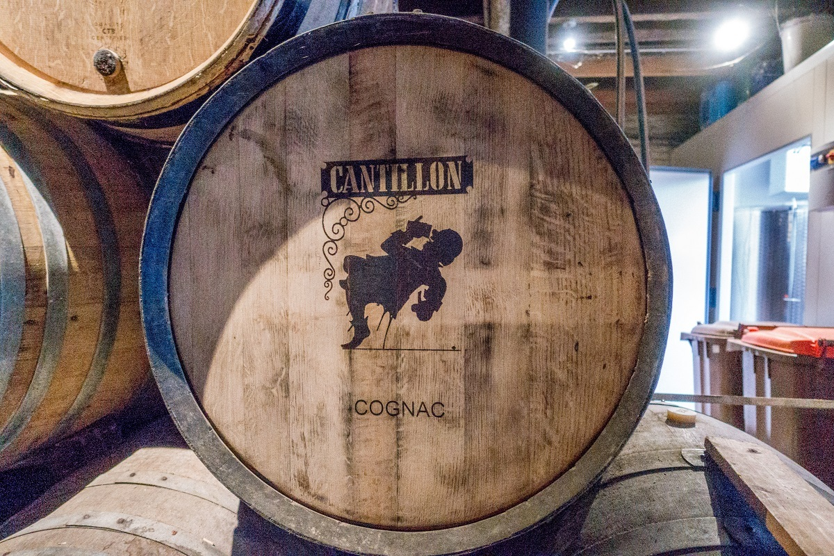 Barrel of beer aging at Cantillon Brewery in Brussels