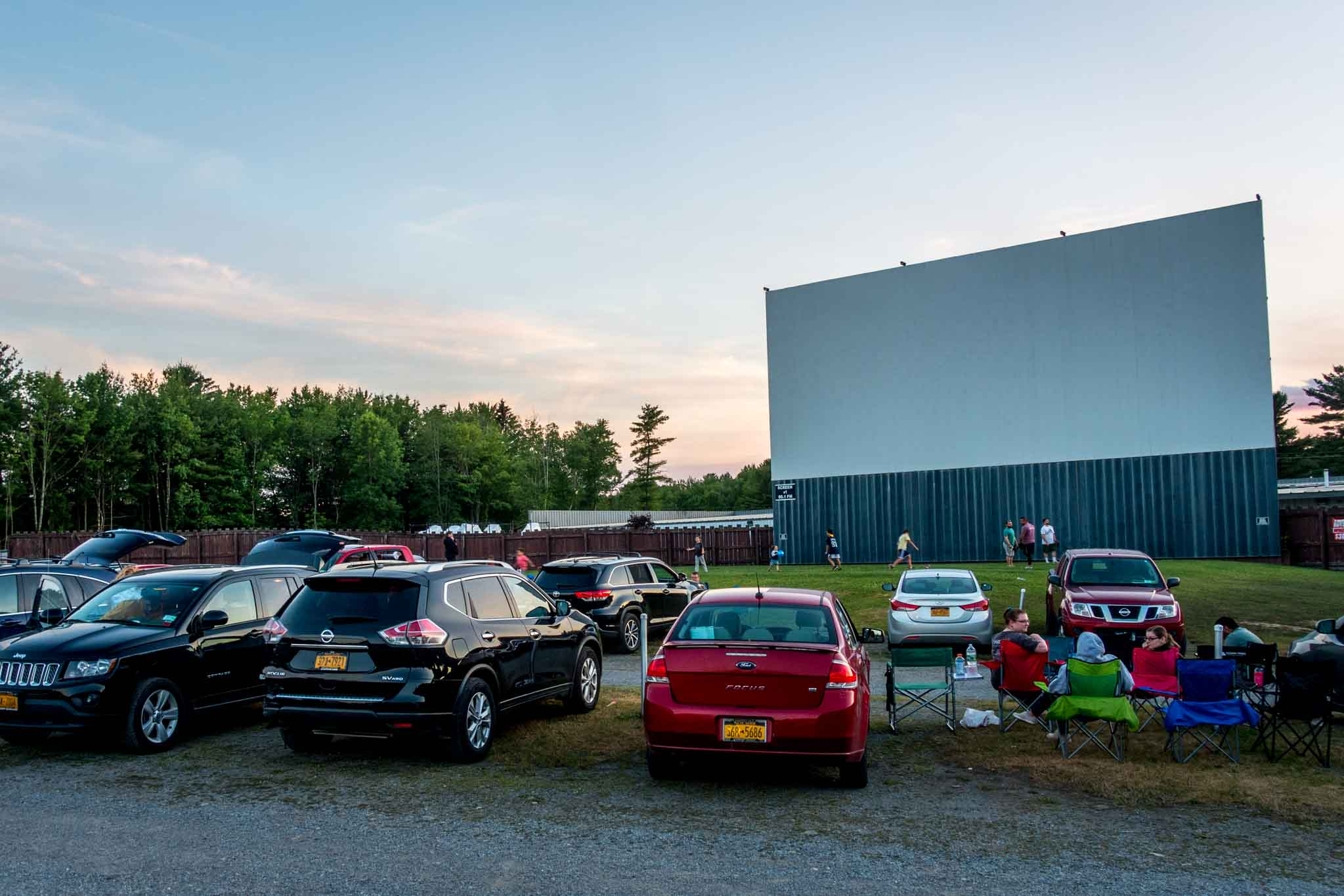 Cars waiting for a drive-in movie