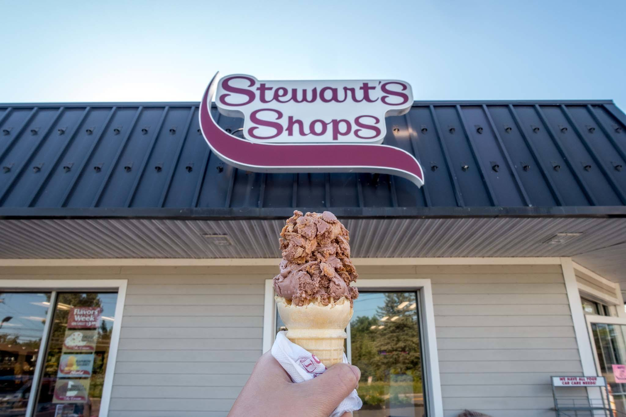 """Ice cream cone in front of """"Stewart's Shops"""" sign"""