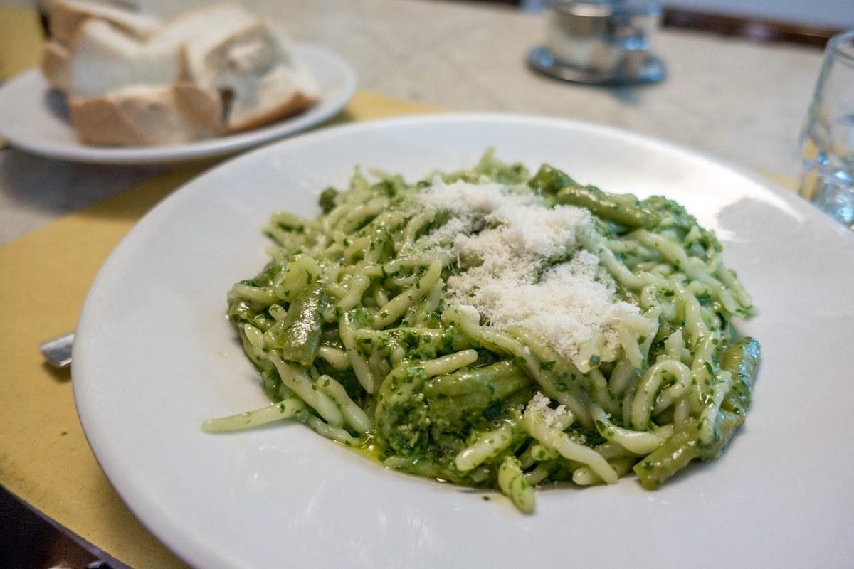 Pesto alla Genovese, pasta coated in a green sauce
