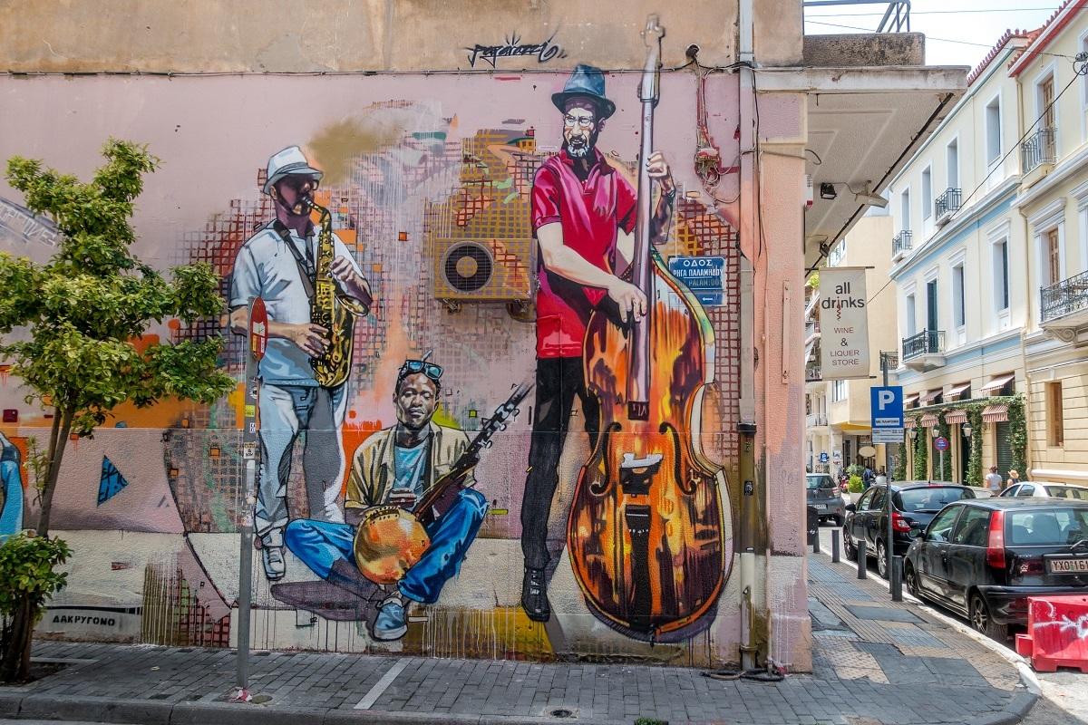 Street art mural showing musicians