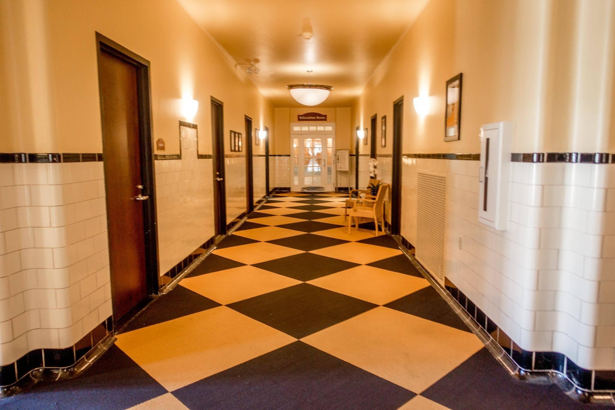 Black and white tiled hallway