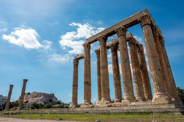 Ruined columns of an ancient Greek temple
