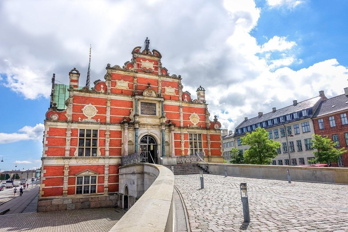 Red and white striped exterior of the Borsen in Copenhagen Denmark