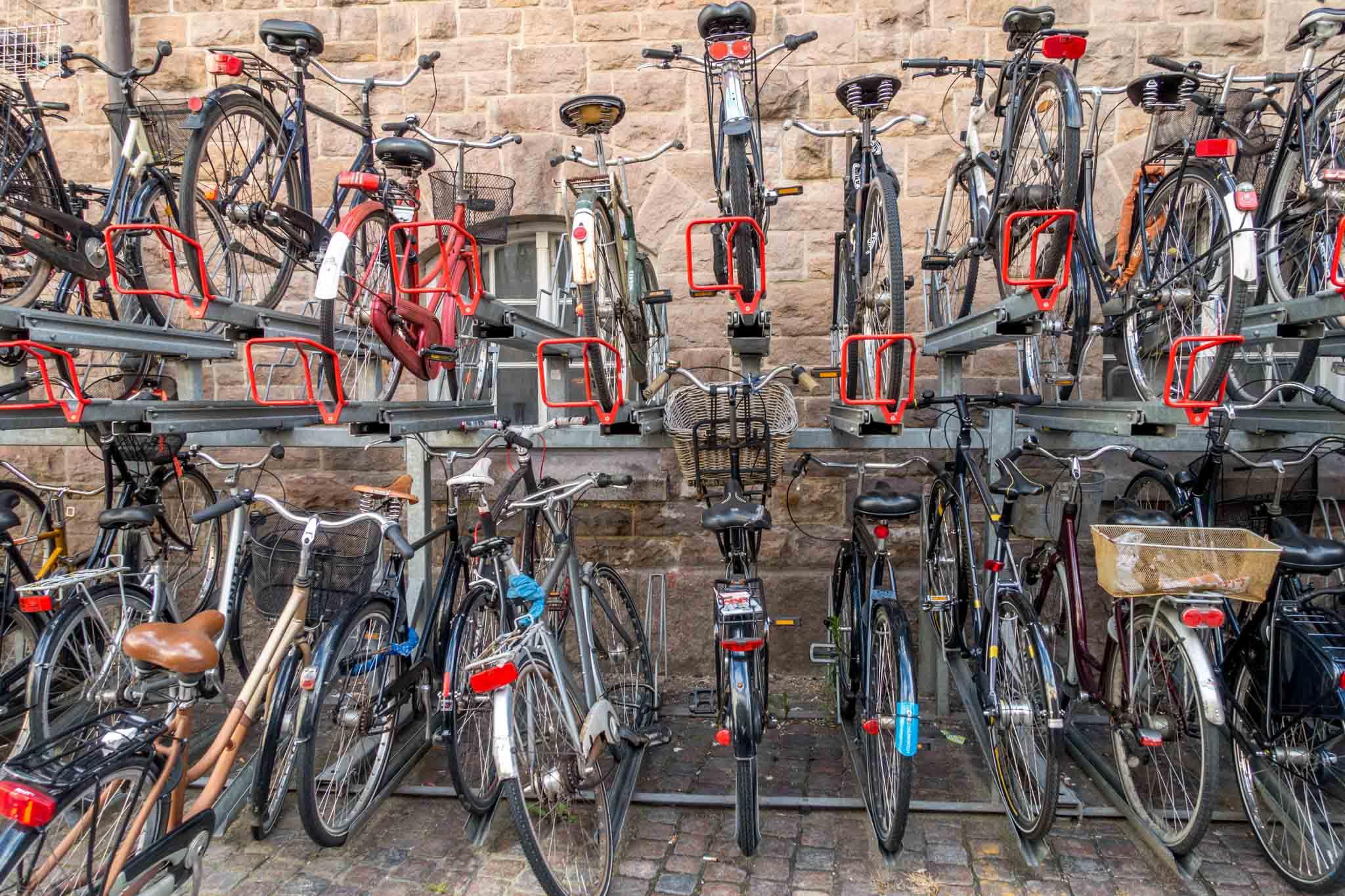 Racks full of bicycles