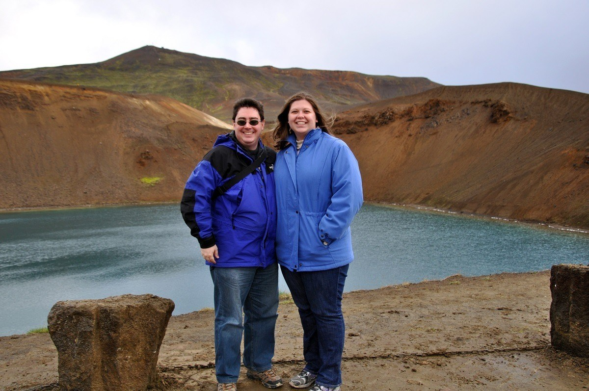 Laura and Lance at the top of the Krafla volcano caldera in Iceland