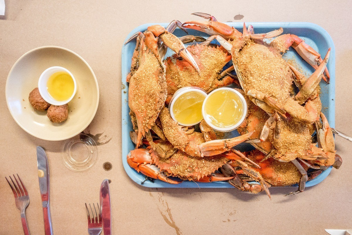 Steamed crabs and hush puppies