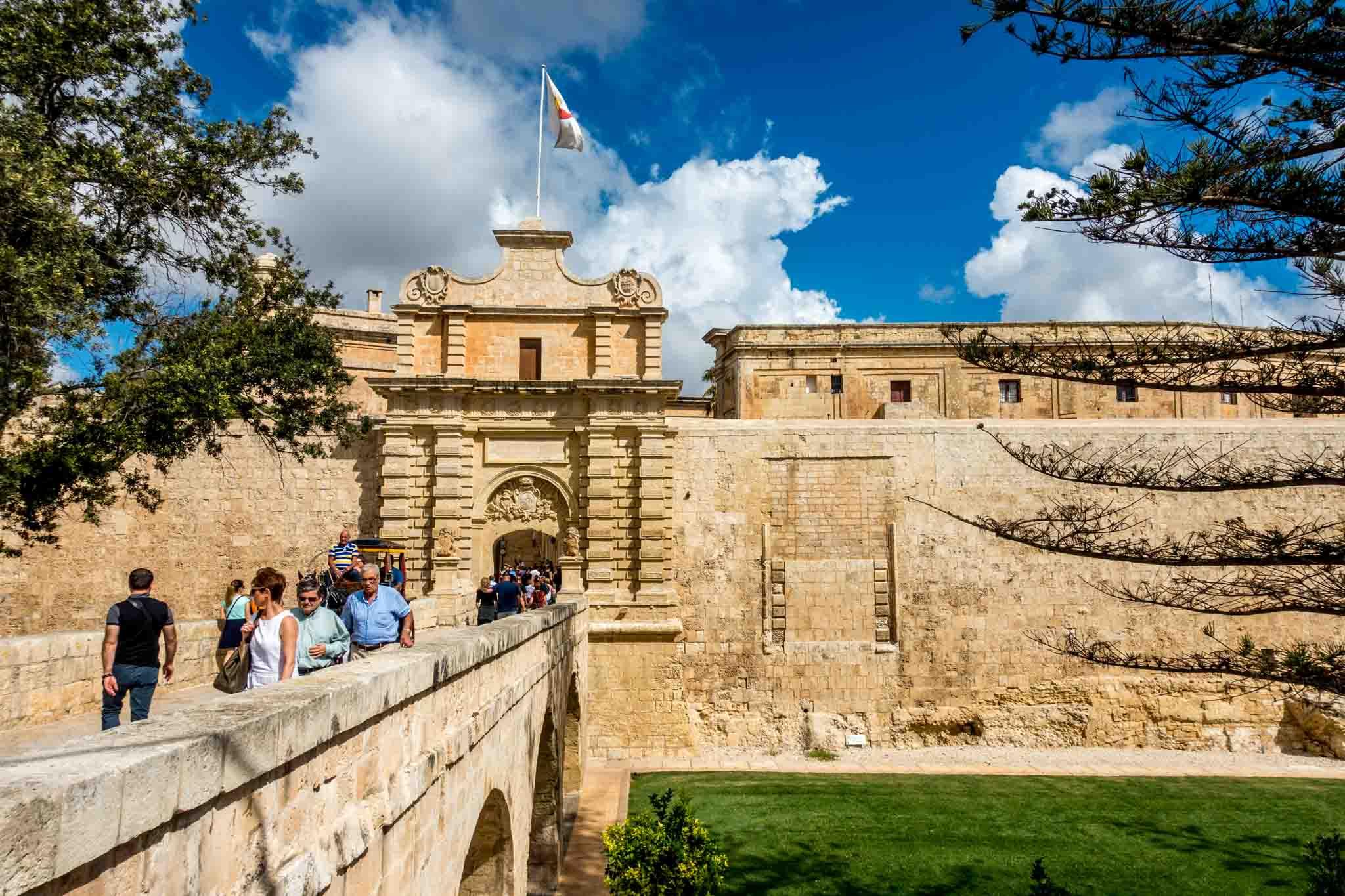 Stone bridge and gate for Mdina, Malta