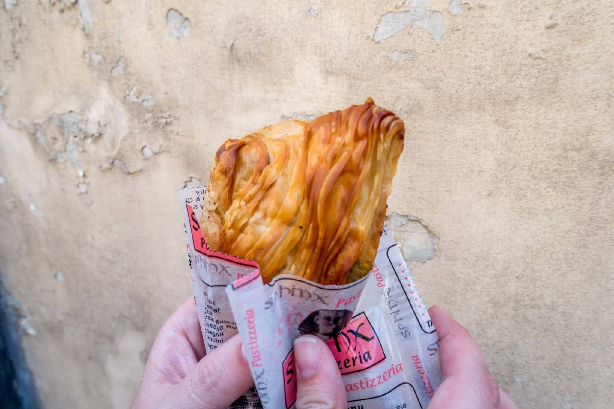 Pastizzi, a pastry filled with peas