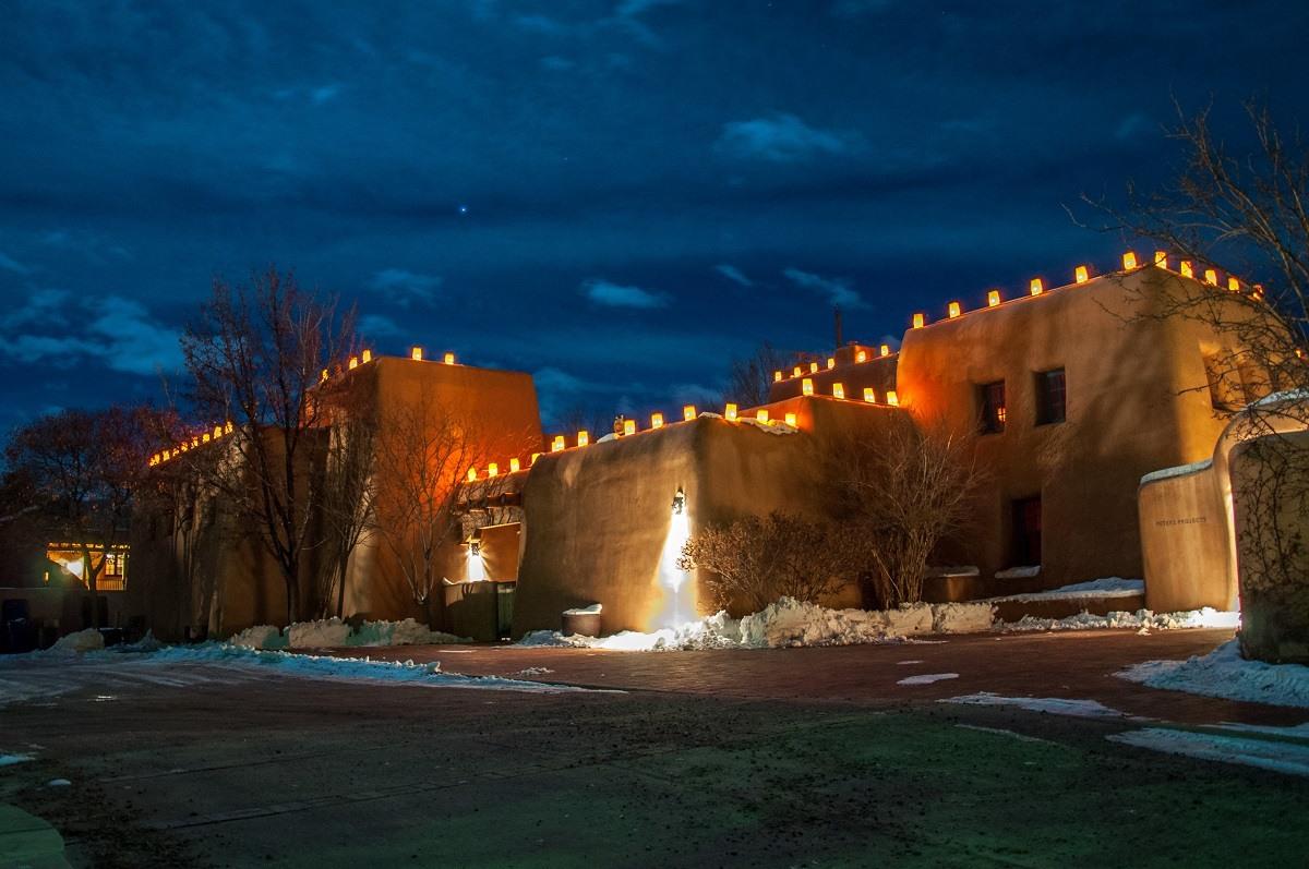 The farolito lanterns on adobe buildings along Santa Fe's Canyon Road