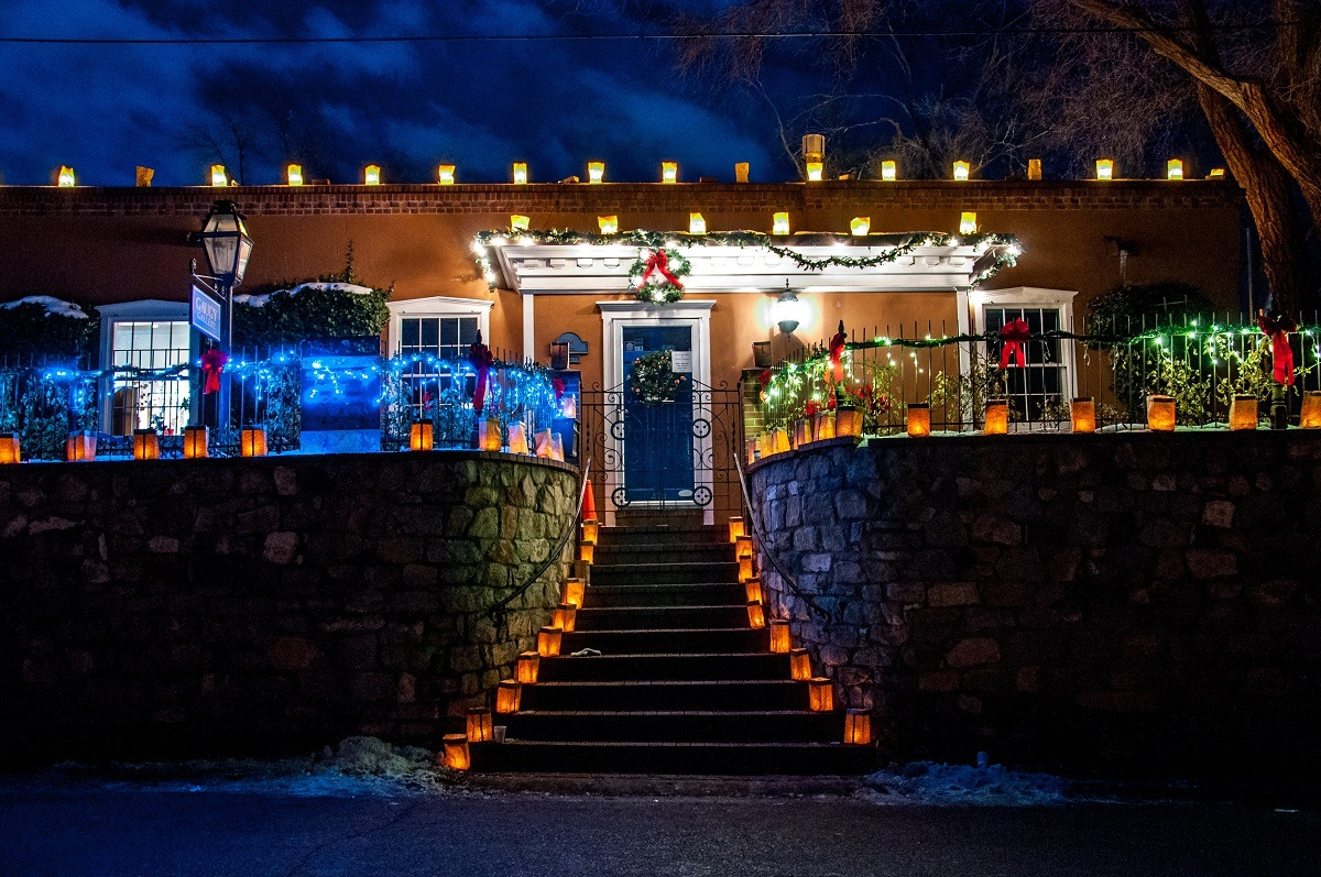 Private homes on Canyon Road are decorated with lanterns for the farolito walk on Christmas Eve