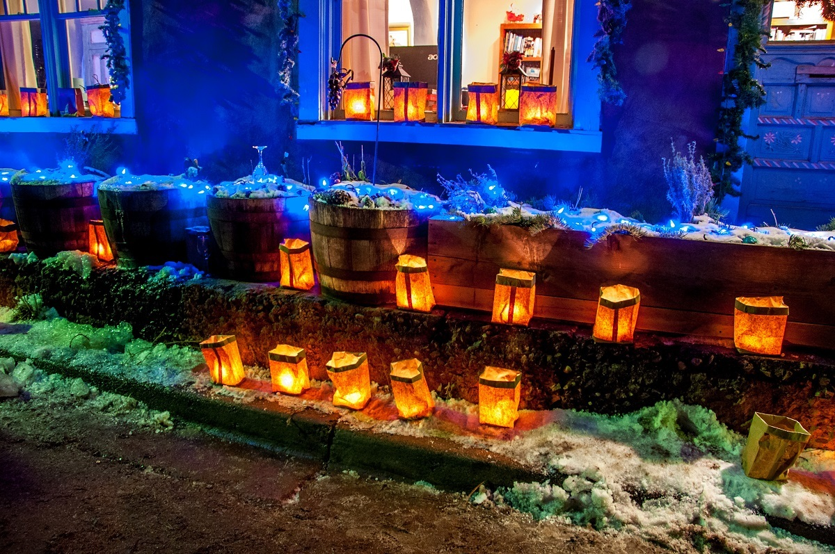 Home decorated with farolitos on Canyon Road as part of the Santa Fe Christmas tradition
