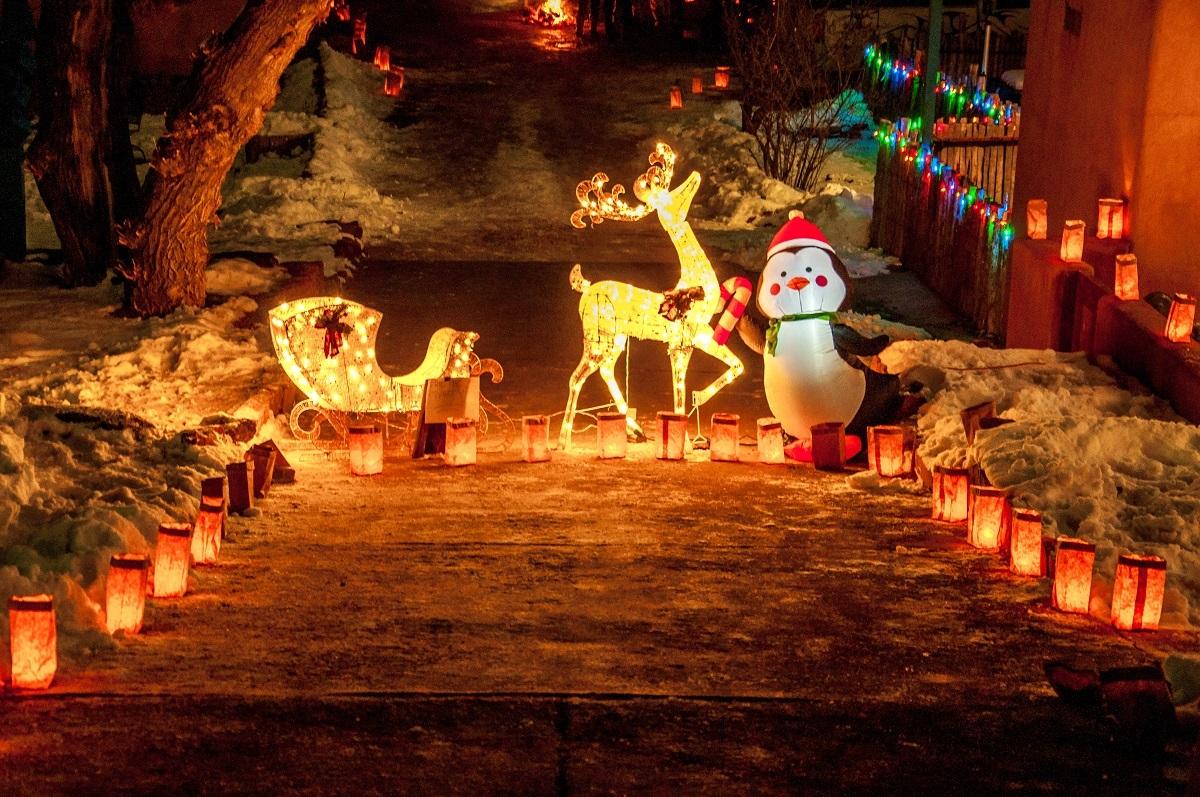 Paper lanterns and Christmas display