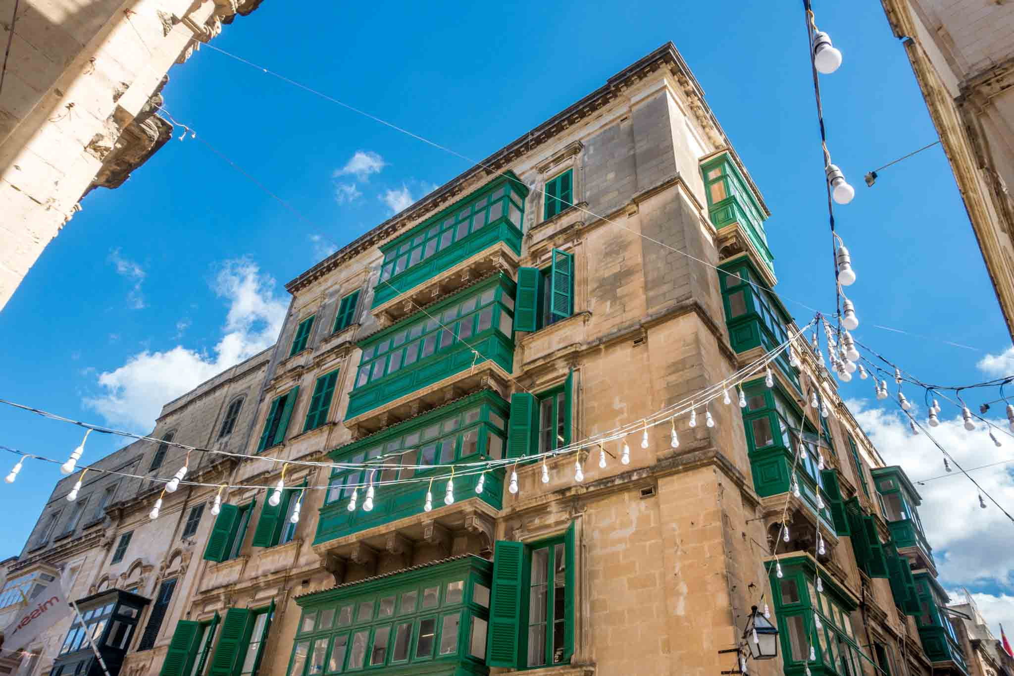 Colorful balconies on Malta island