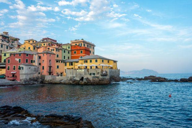 Colorful buildings along an ocean coast
