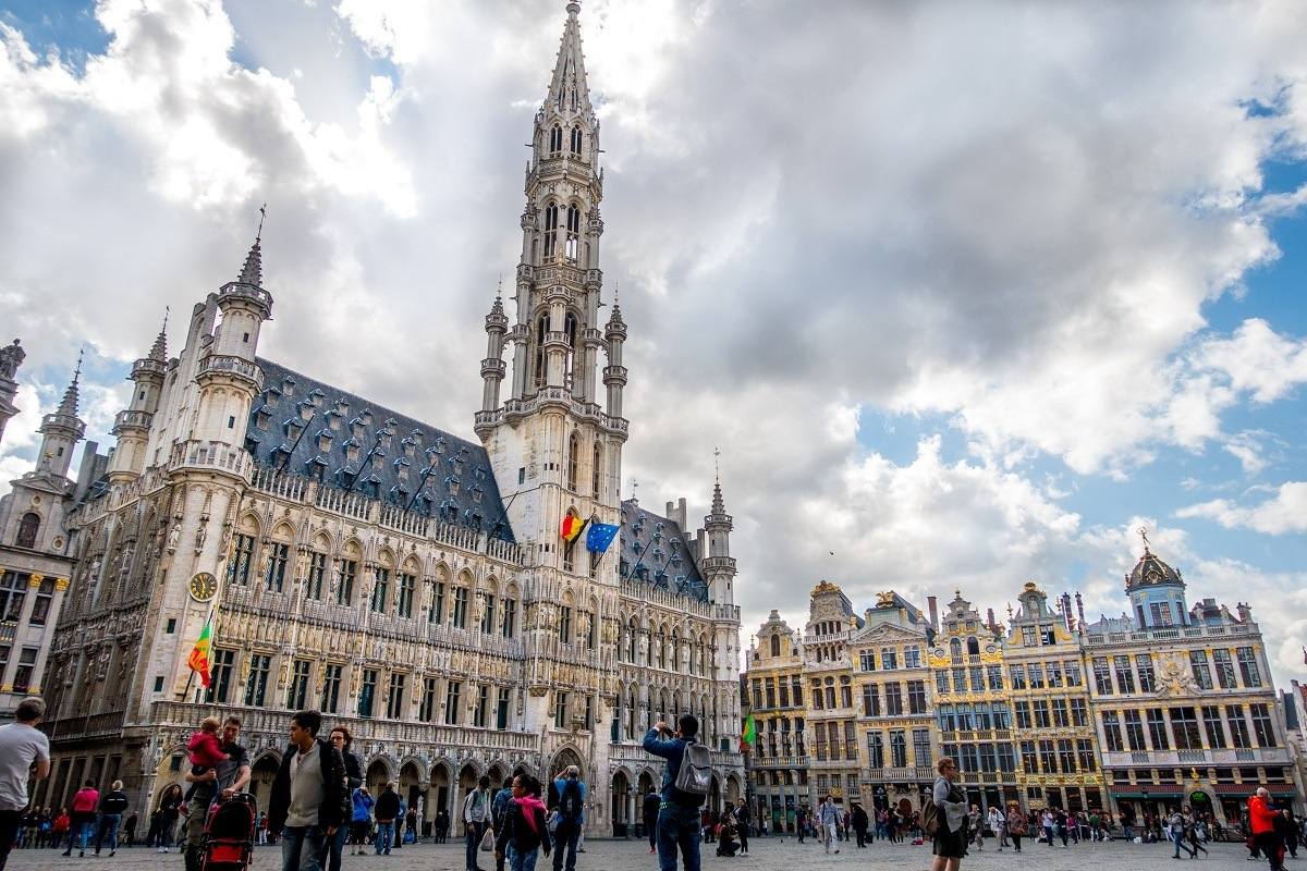 Historic buildings of the main square in Brussels, Belgium