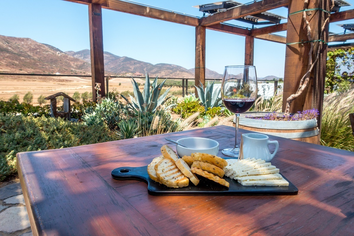 Wine and snacks in Valle de Guadalupe, Mexico
