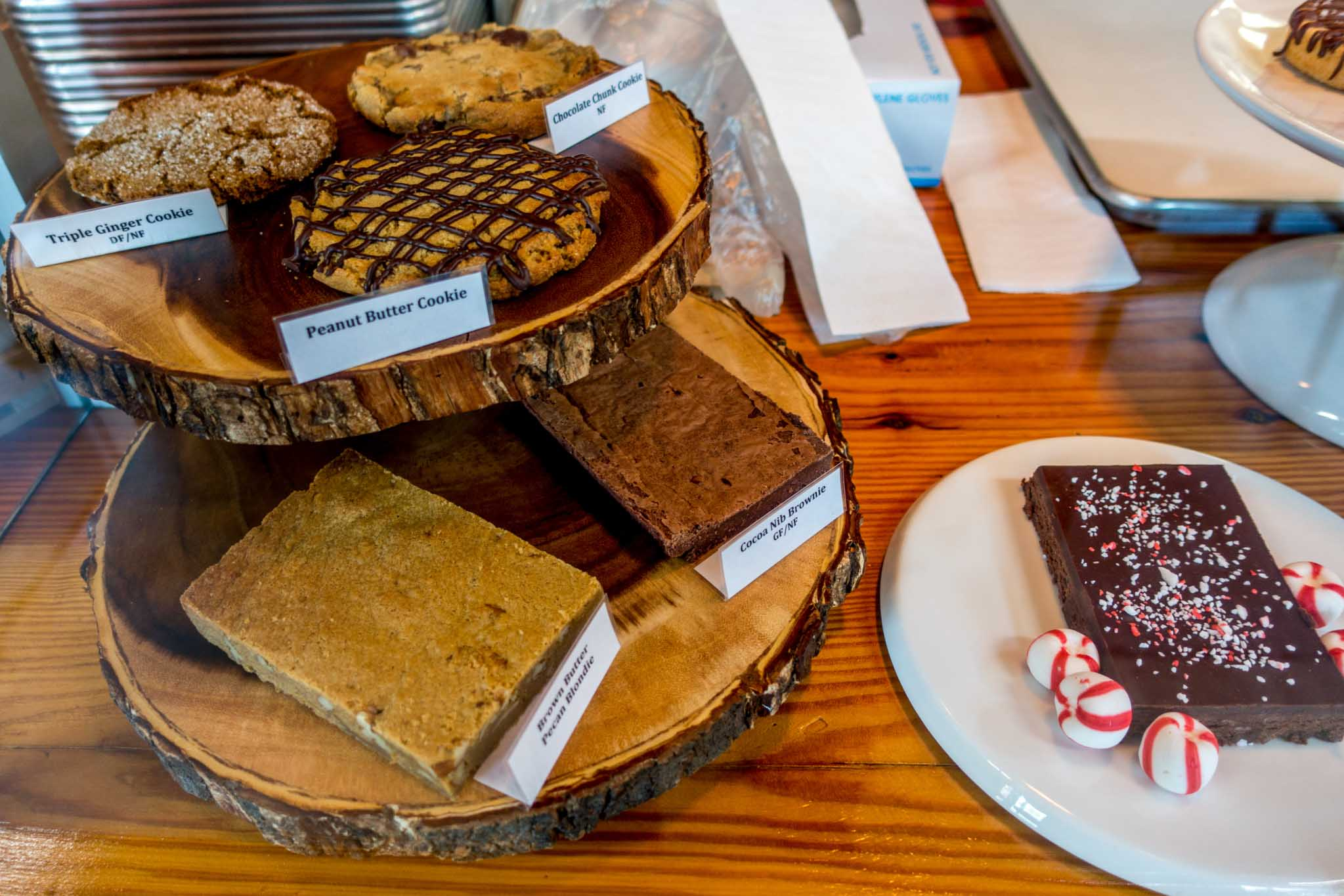 Cookies and brownies for sale at a chocolate store