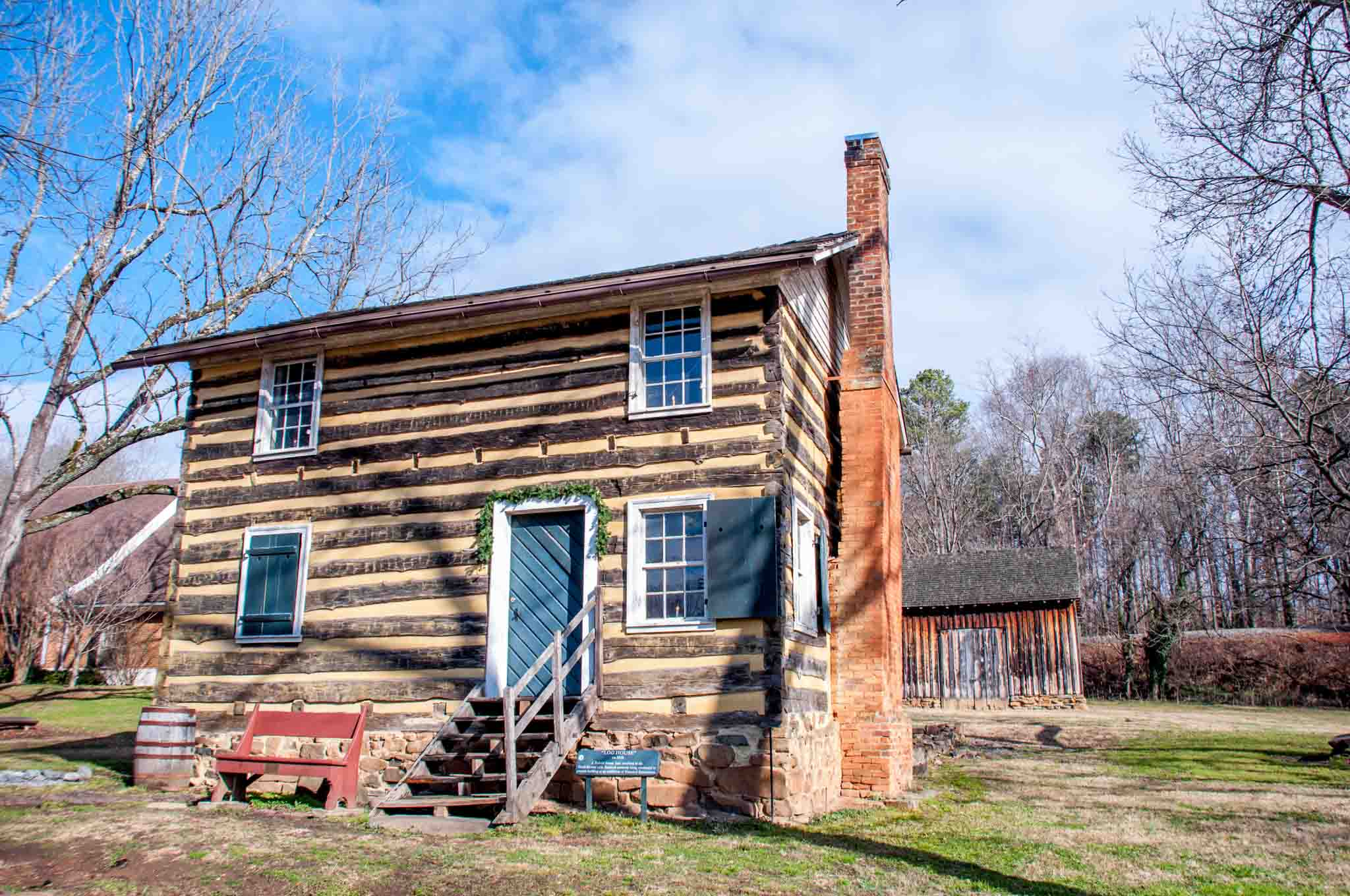 Log house with four windows at the Bethabara Historic District