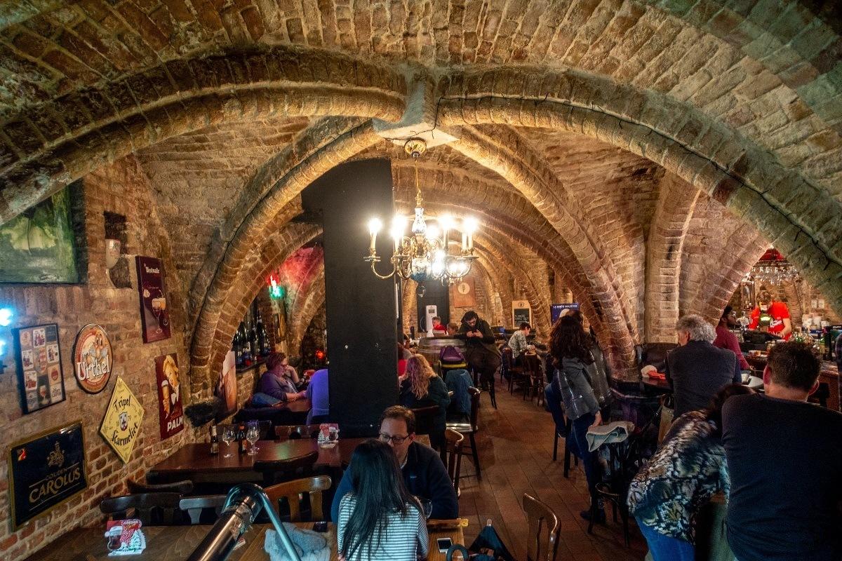 People in underground bar