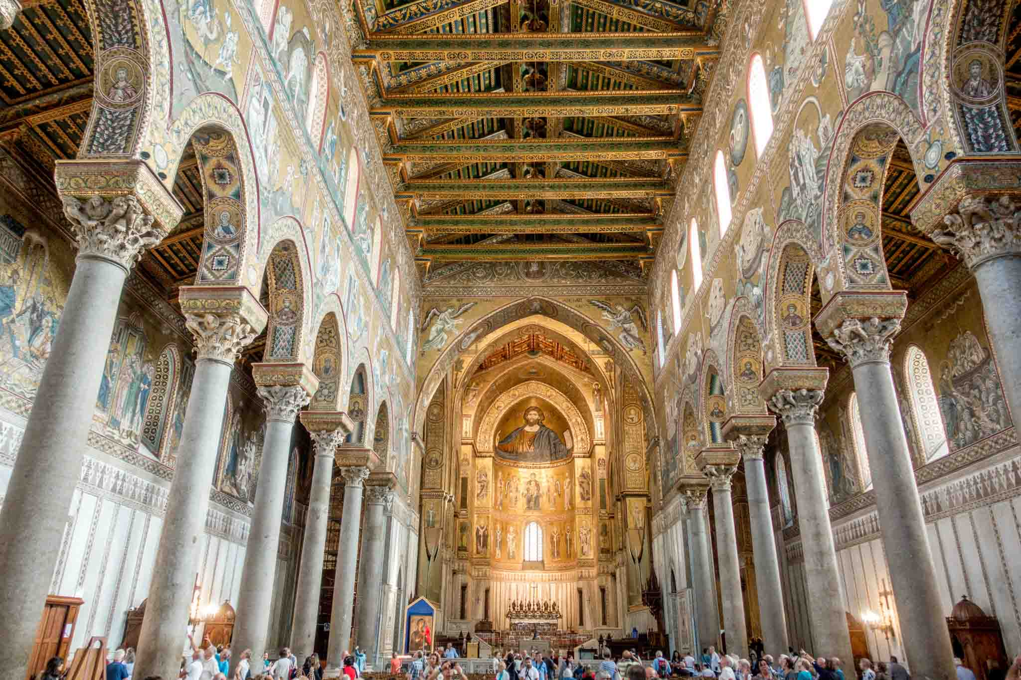 Interior of a cathedral decorated with gold mosaics