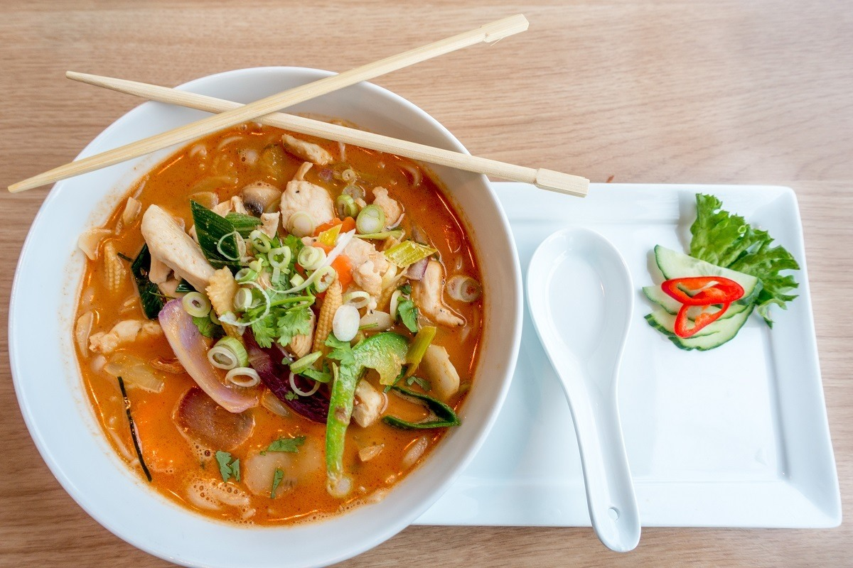 Bowl of spicy thai soup