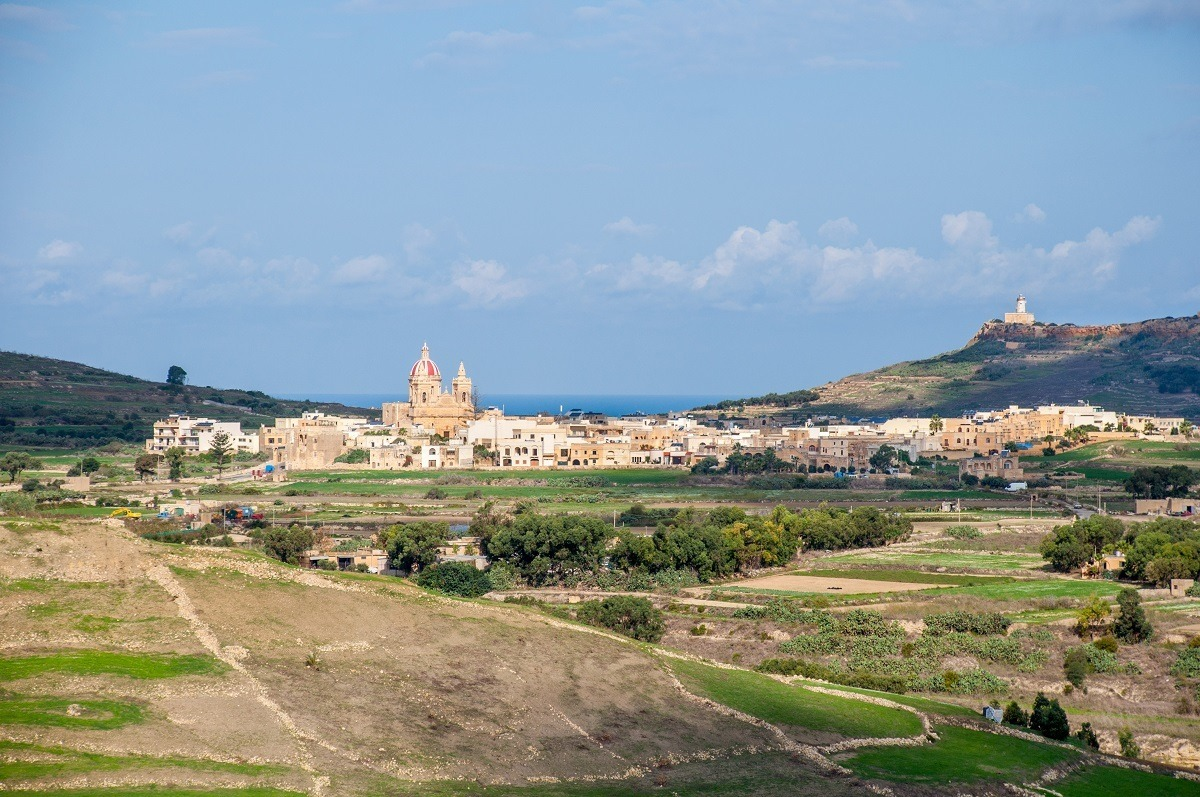 Panoramic view of a city in the countryside of Gozo