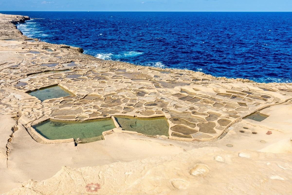 Open-air coastal salt pans in Gozo