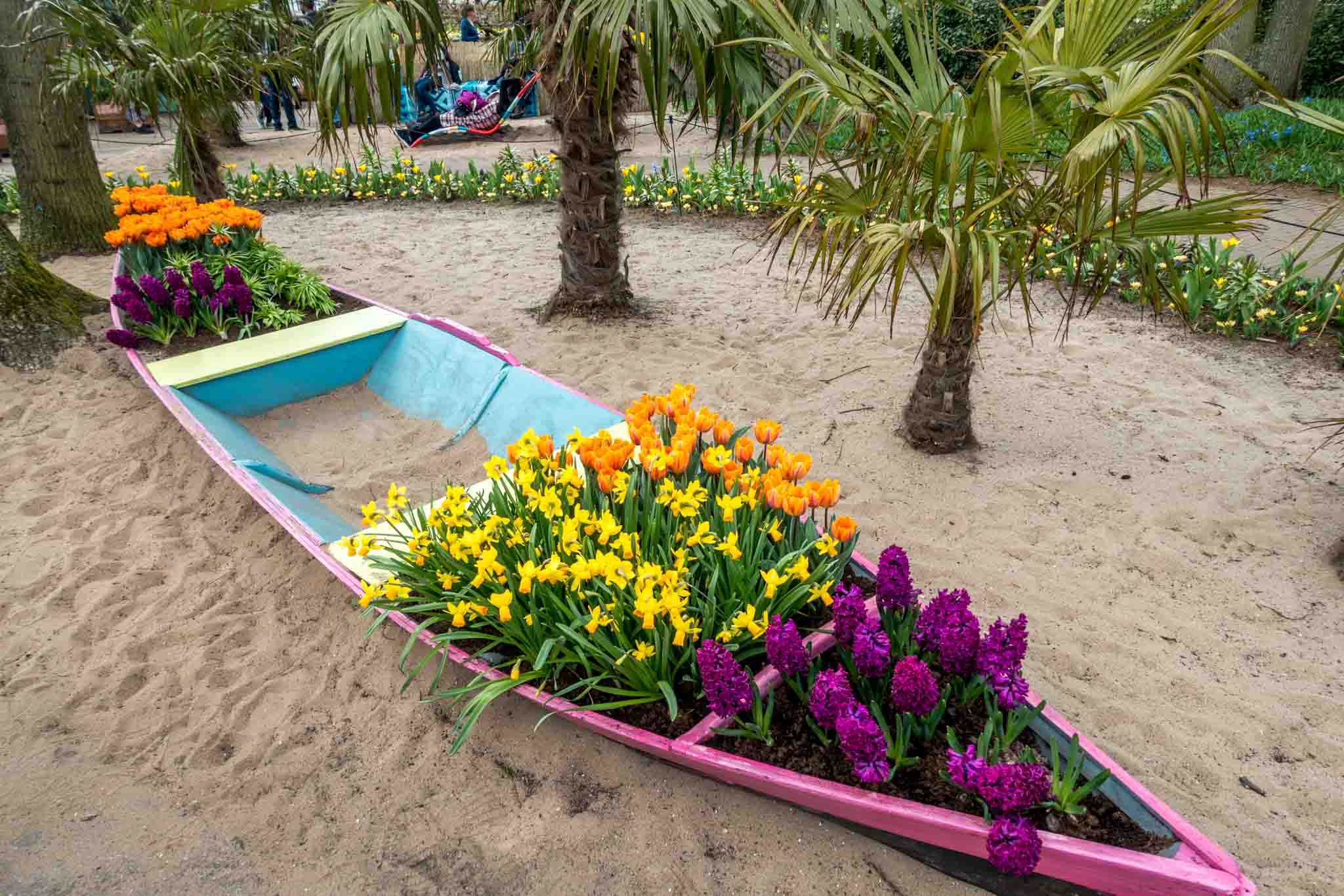 Canoe filled with flowers