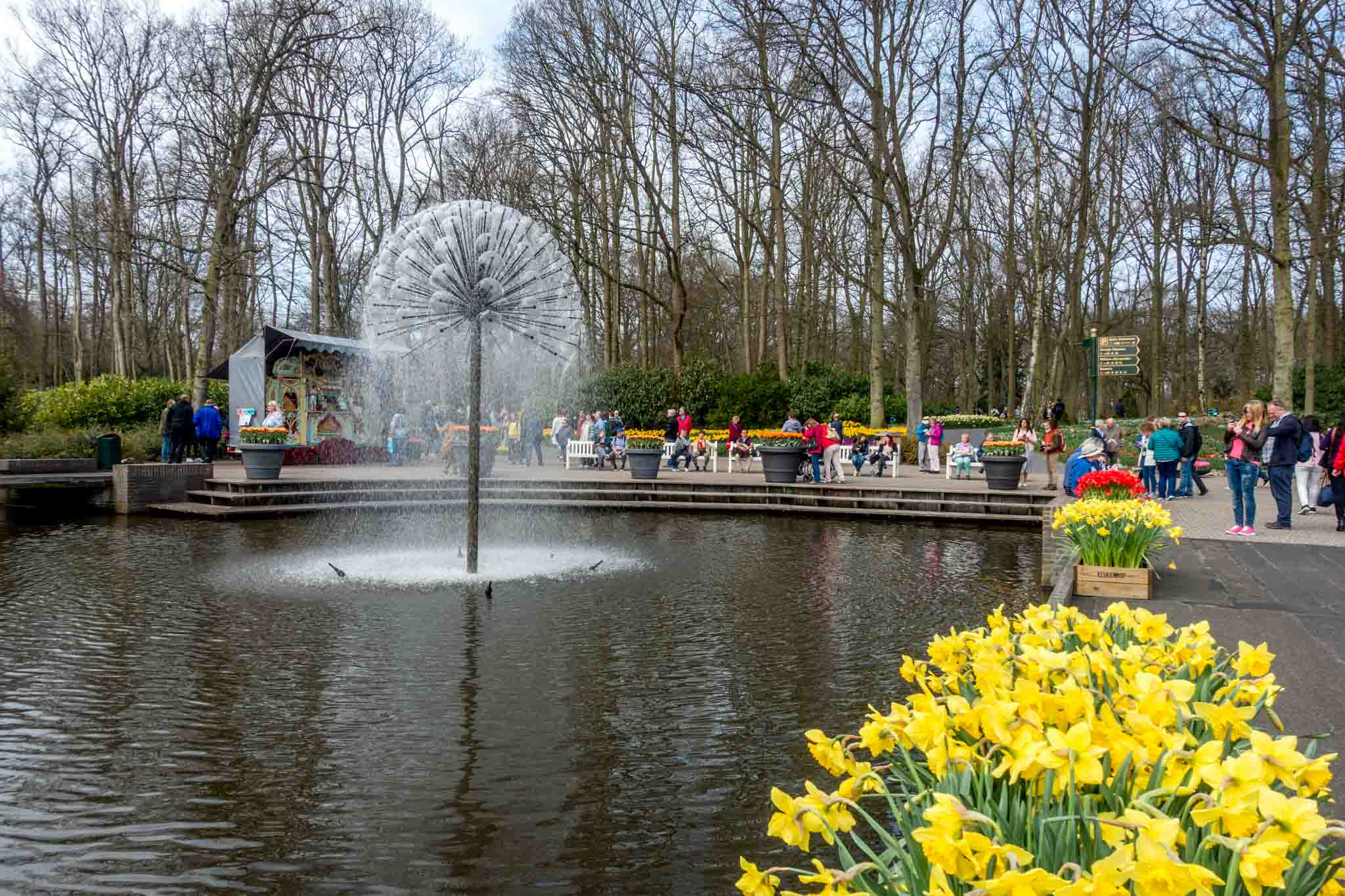 People walking around a pond with a fountain in the middle
