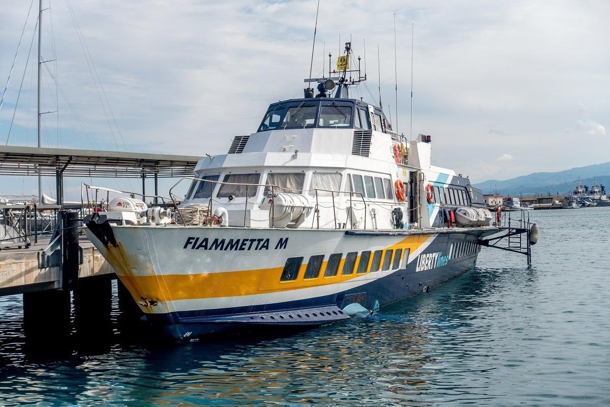 The Liberty Lines Ferry hydrofoil Fiammetta M in port