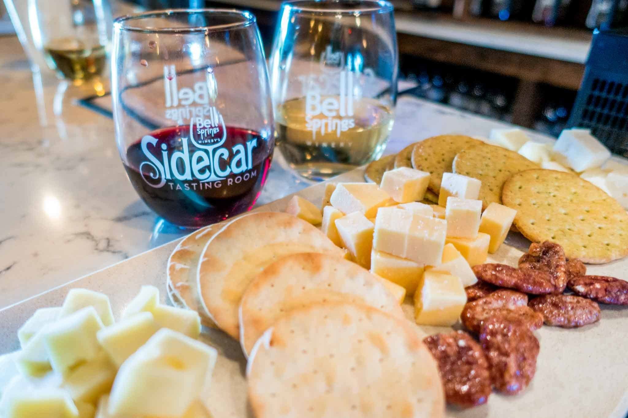 Wine glasses and snacks