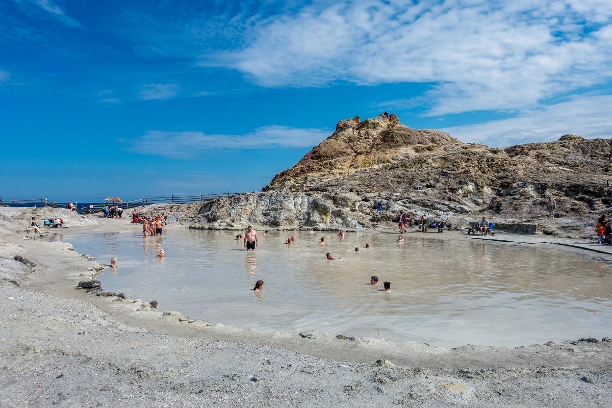 The Laghetto di Fanghi world famous hot springs mud baths on Vulcano Island