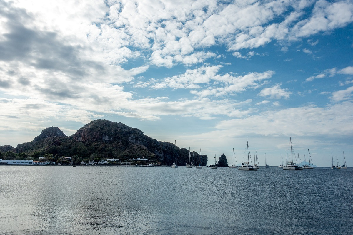 Sailboats in the bay in Vulcano off Sicily