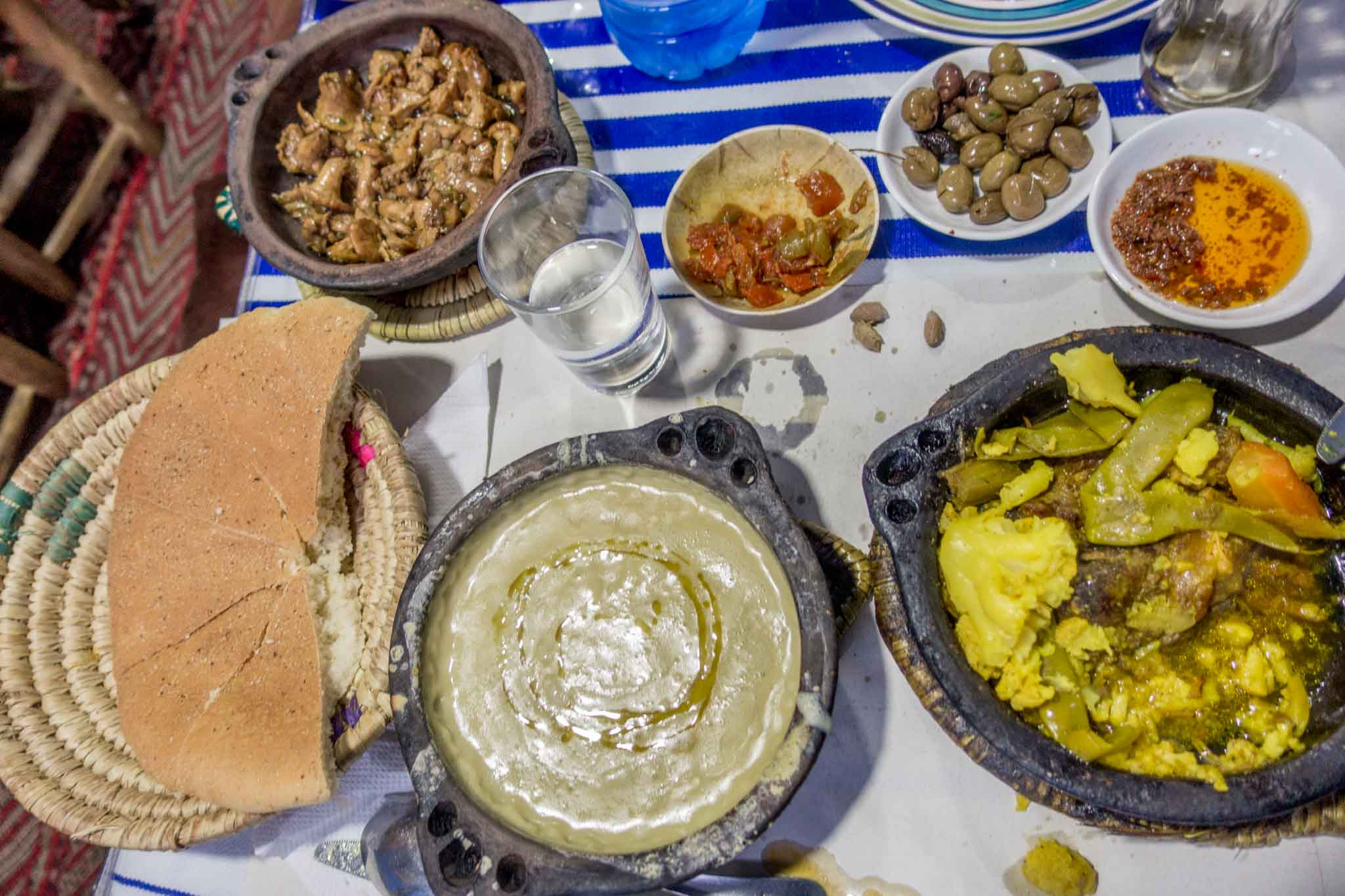 Traditional Moroccan food on table
