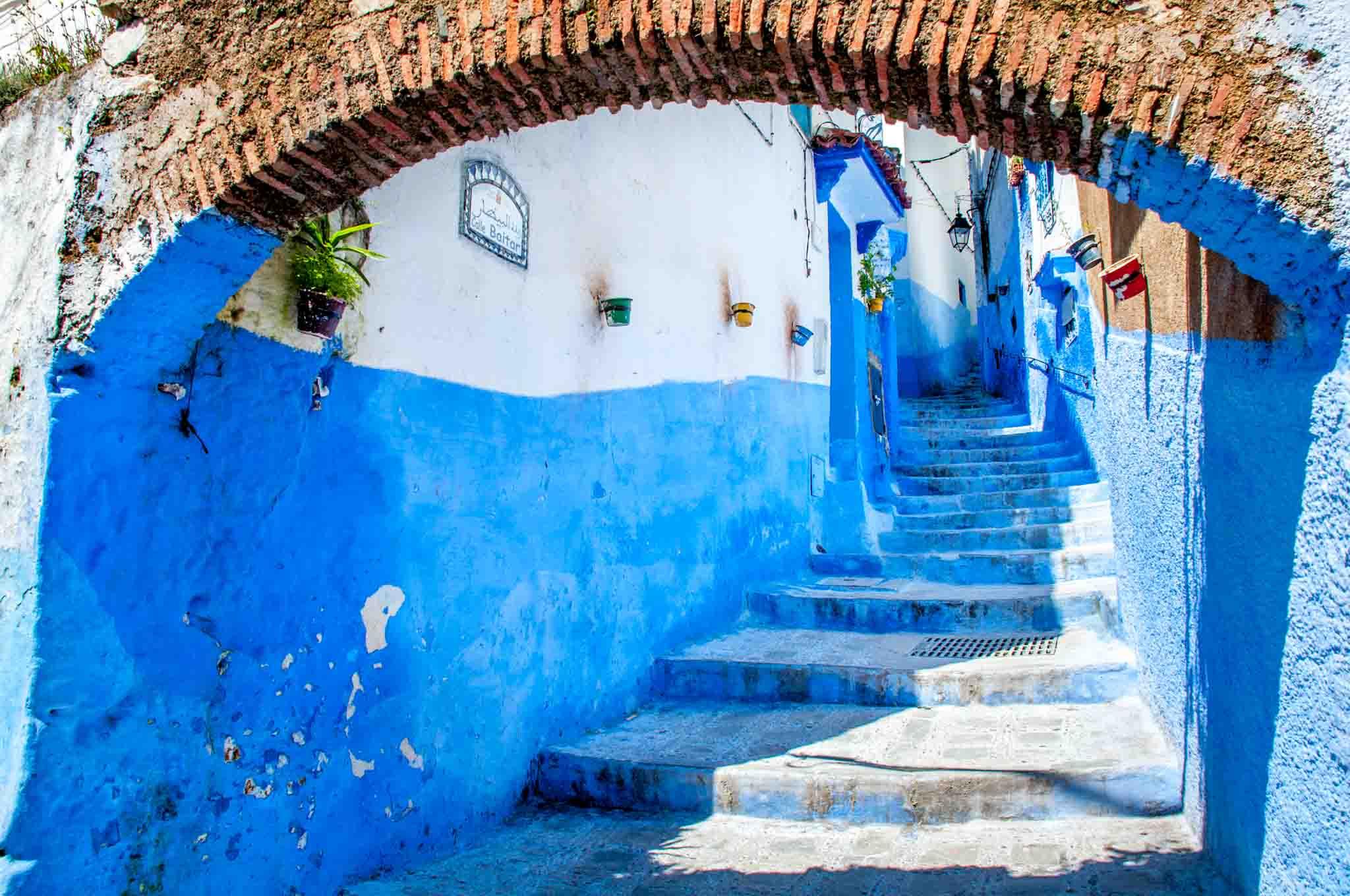 Stairway under arch