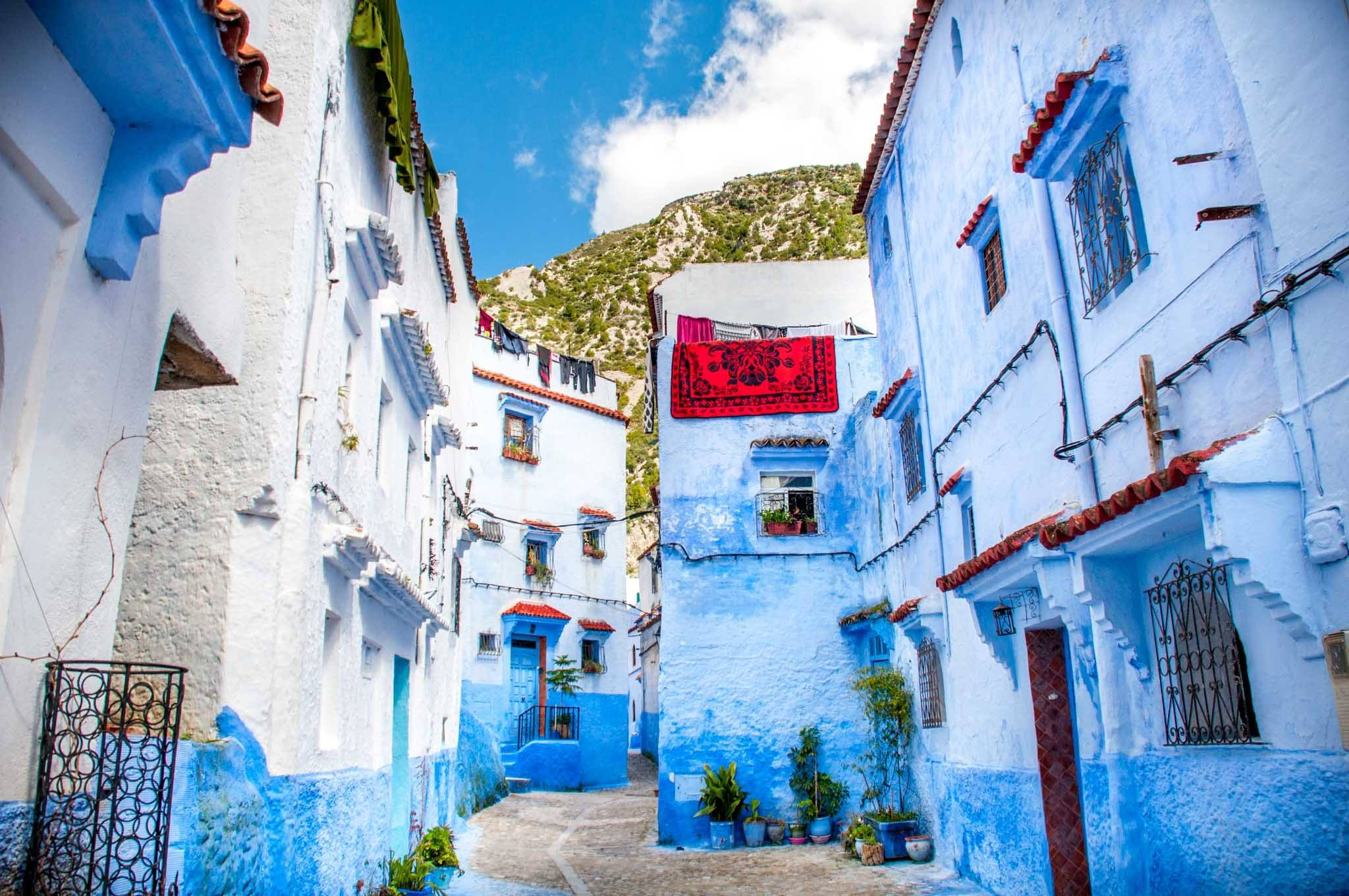 Blue and white street in Morocco