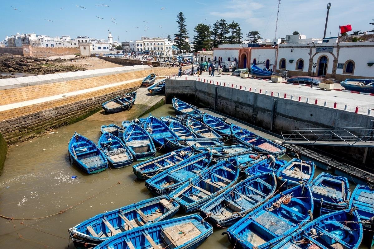 Small, blue fishing boats in the harbor of Essaouira.
