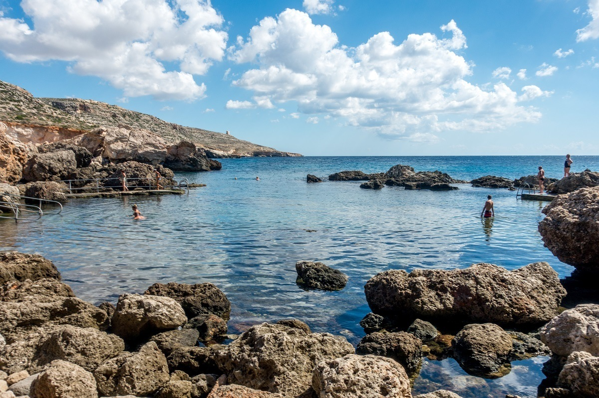 Swimming at Ghar Lapsi, a stop on our Malta itinerary