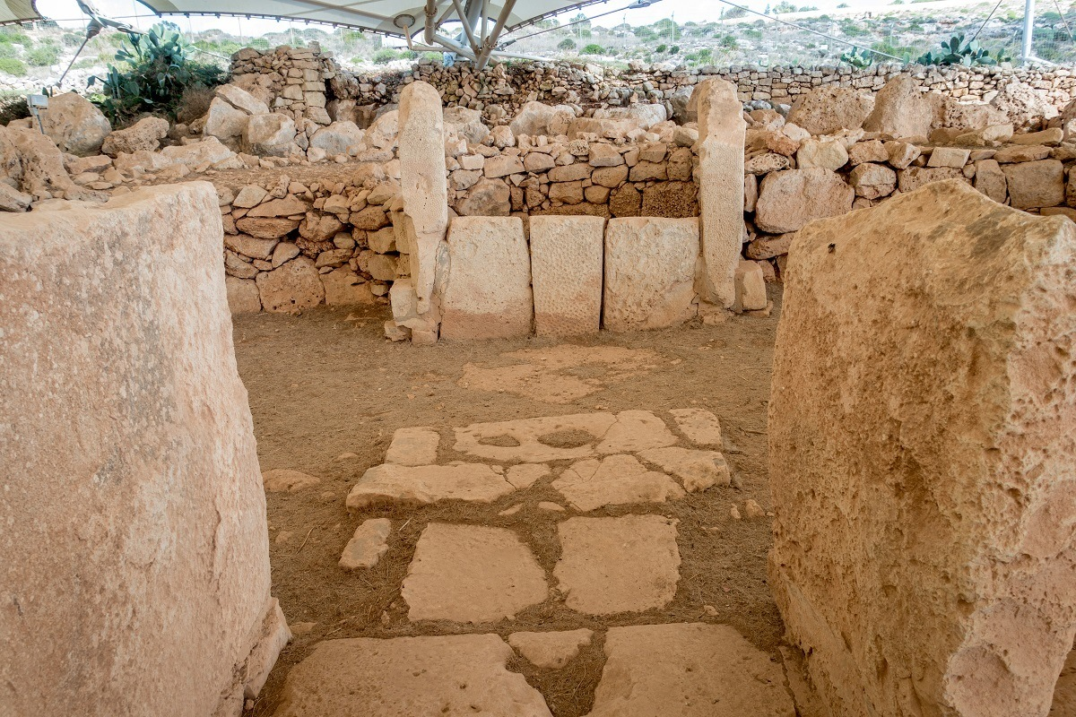 Stone walkway inside the Megalithic Temples of Malta