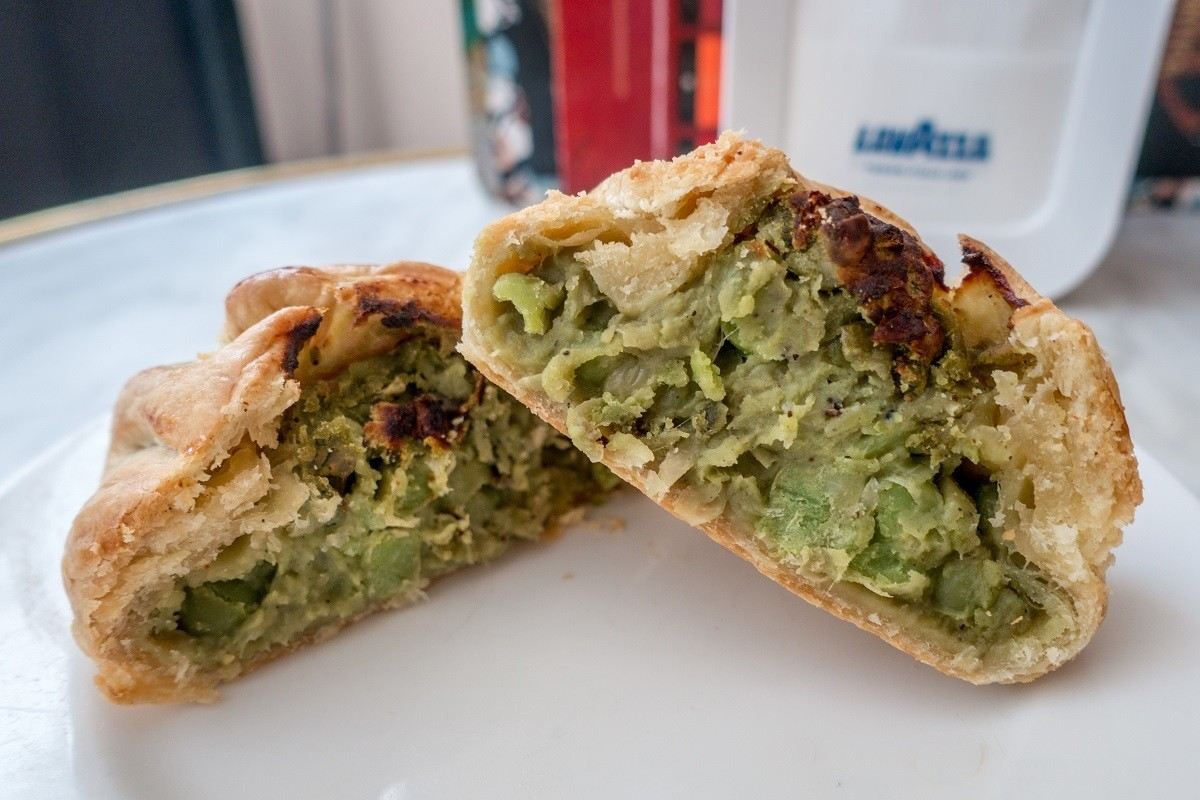 Qassatat pastry stuffed with peas