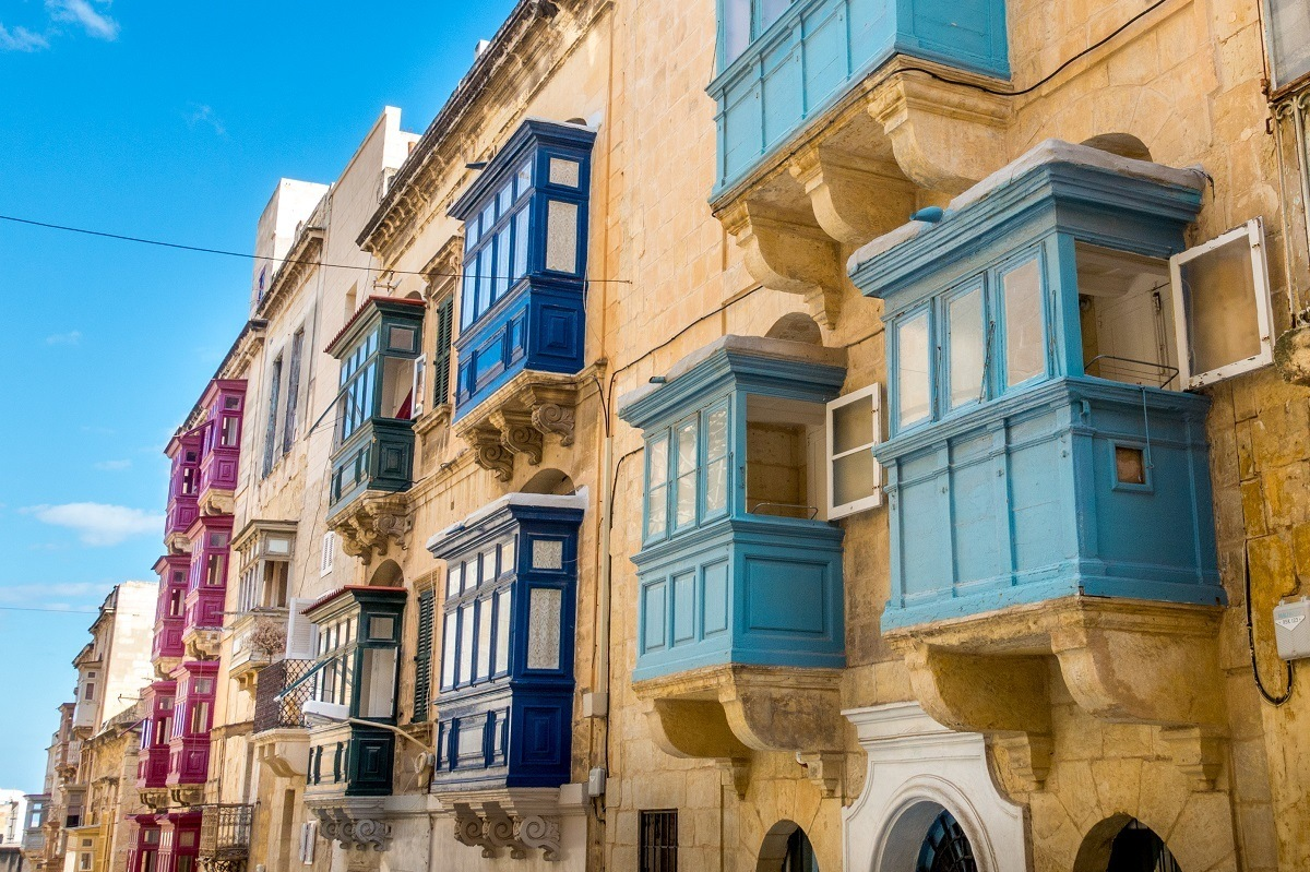 Multi-colored balconies of Malta
