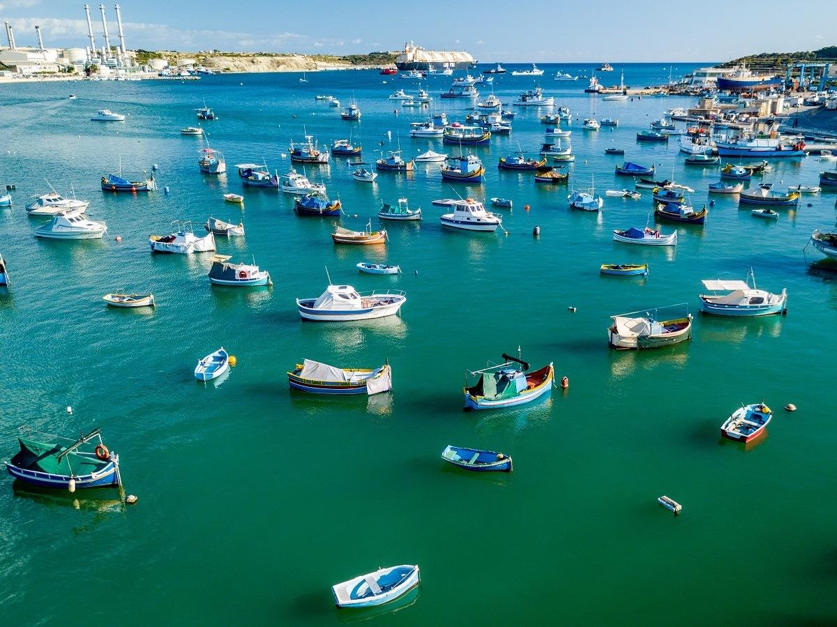 Harbor of Marsaxlokk filled with boats