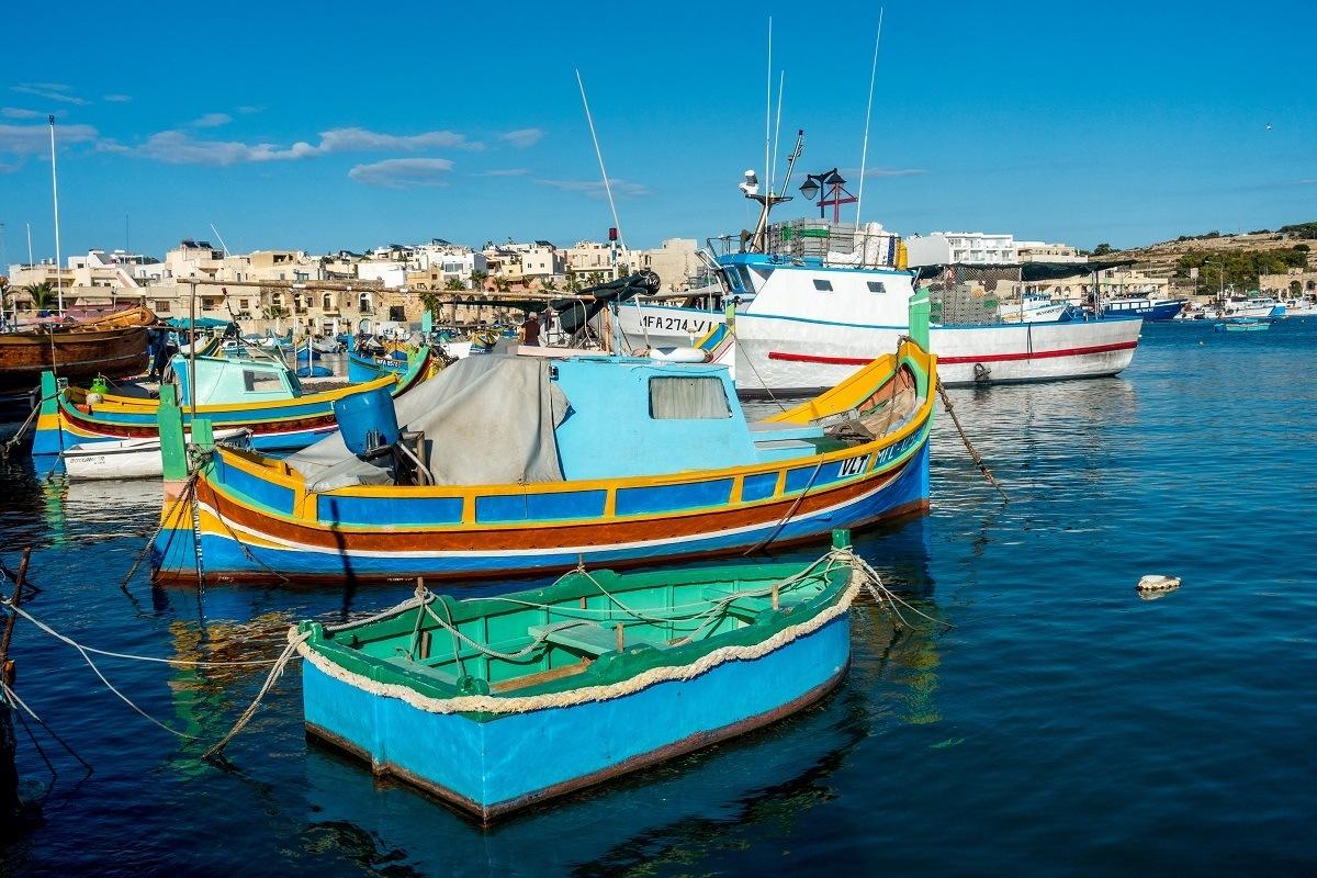 Colorful fishing boats in Maraxlokk Malta