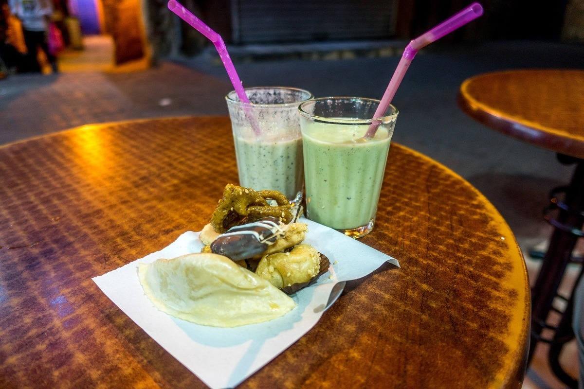 Avocado smoothies and pastries on a Marrakech food tour in Morocco