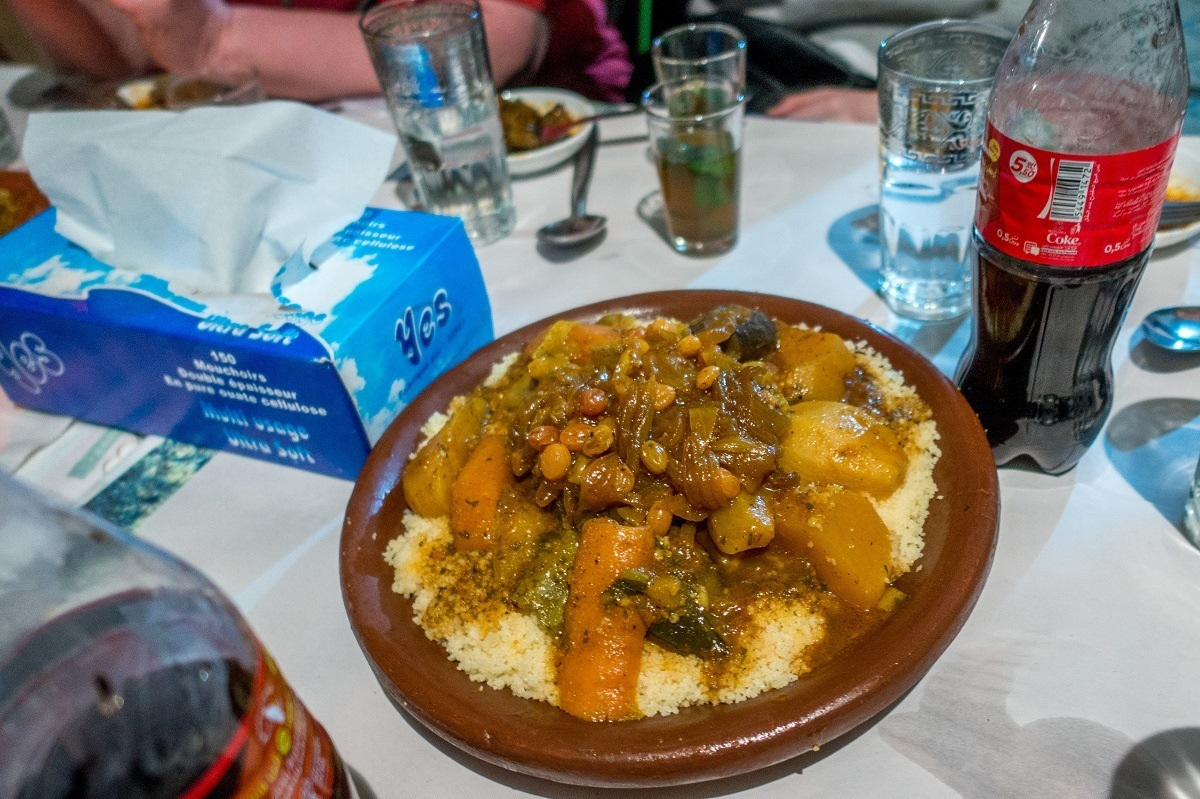 Traditional couscous and tfaya in Marrakech