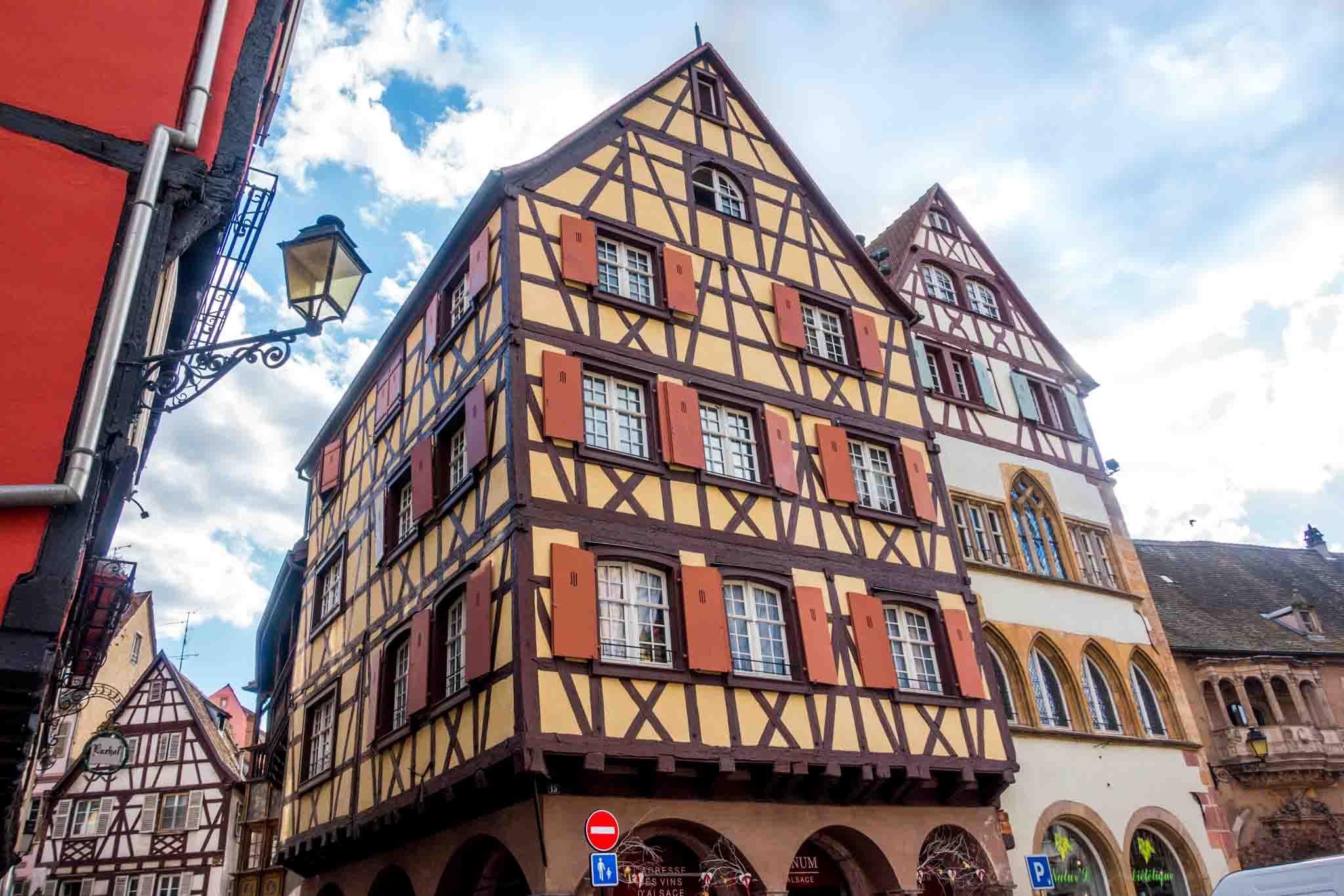 Yellow, half-timbered building